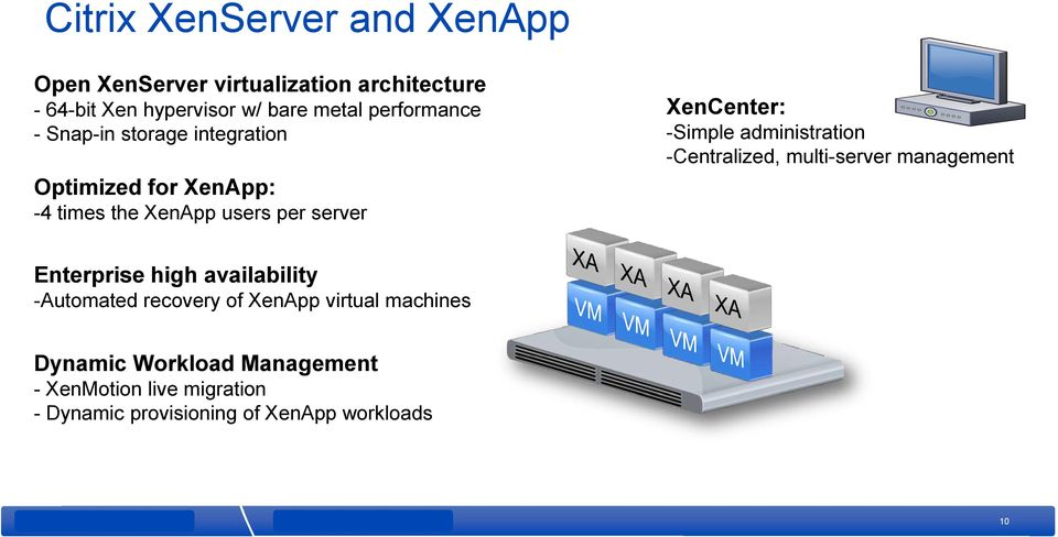 -Simple administration -Centralized, multi-server management Enterprise high availability -Automated recovery of