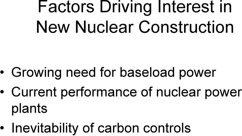 power Current performance of nuclear