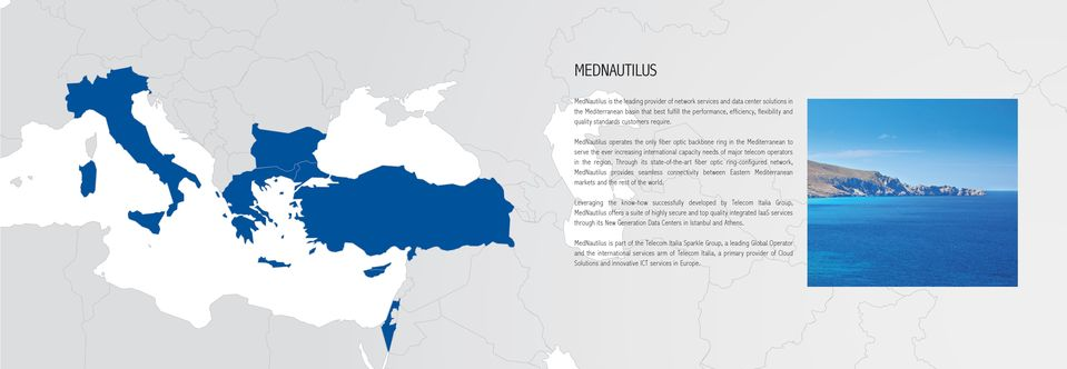 MedNautilus operates the only fiber optic backbone ring in the Mediterranean to serve the ever increasing international capacity needs of major telecom operators in the region.