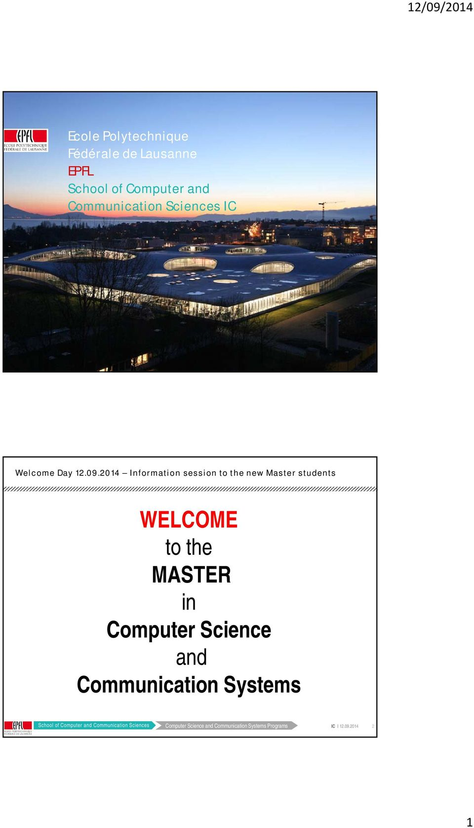 Sciences IC 1 WELCOME to the MASTER in