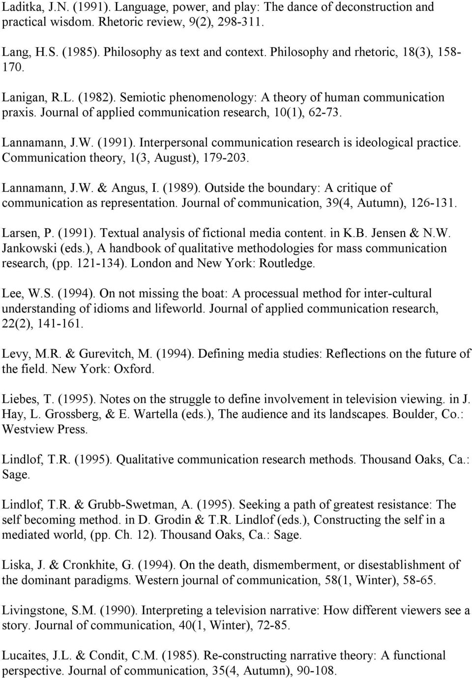 (1991). Interpersonal communication research is ideological practice. Communication theory, 1(3, August), 179 203. Lannamann, J.W. & Angus, I. (1989).