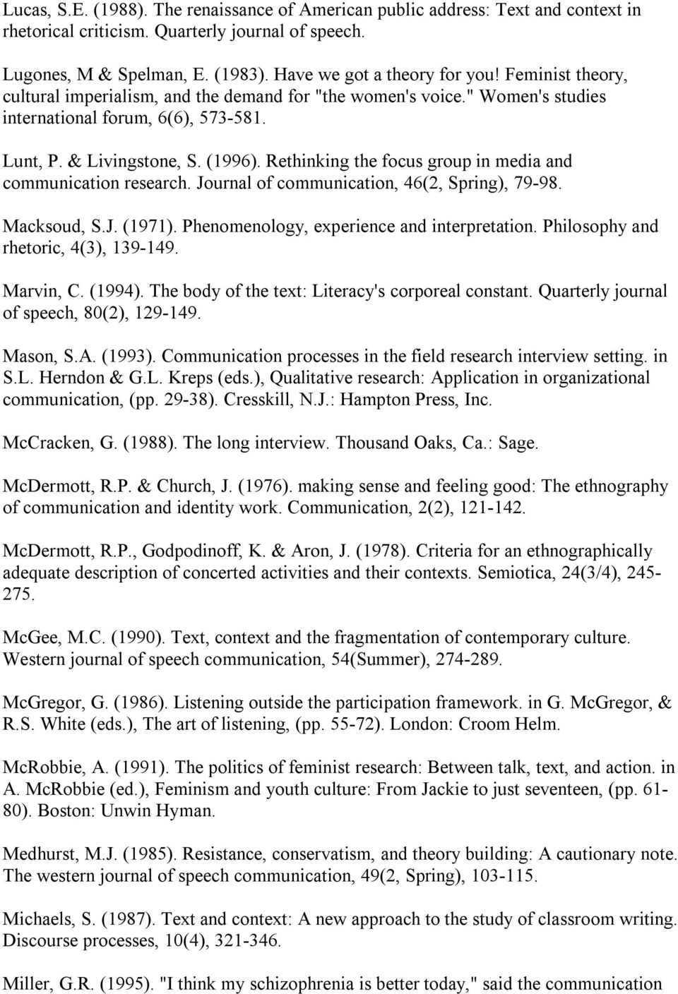 Rethinking the focus group in media and communication research. Journal of communication, 46(2, Spring), 79 98. Macksoud, S.J. (1971). Phenomenology, experience and interpretation.