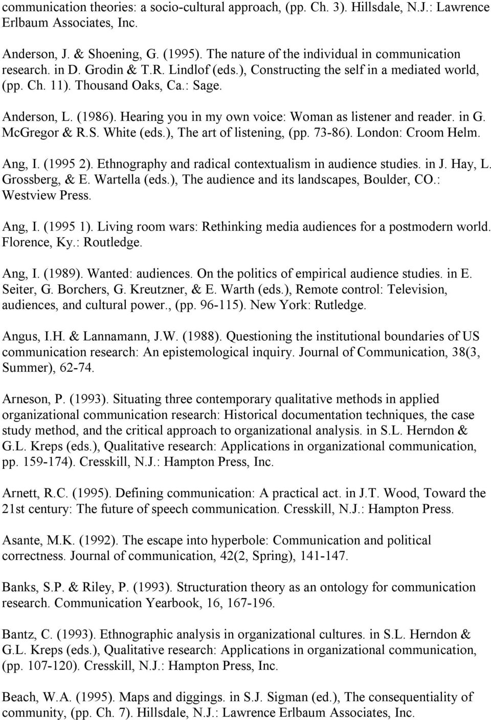 Hearing you in my own voice: Woman as listener and reader. in G. McGregor & R.S. White (eds.), The art of listening, (pp. 73 86). London: Croom Helm. Ang, I. (1995 2).