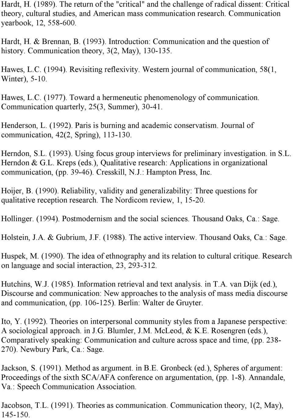 Western journal of communication, 58(1, Winter), 5 10. Hawes, L.C. (1977). Toward a hermeneutic phenomenology of communication. Communication quarterly, 25(3, Summer), 30 41. Henderson, L. (1992).