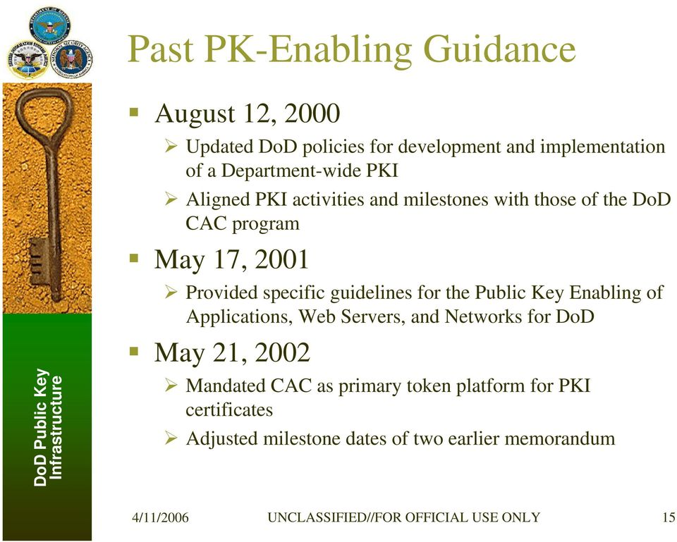 for the Public Key Enabling of Applications, Web Servers, and Networks for DoD May 21, 2002 Mandated CAC as primary