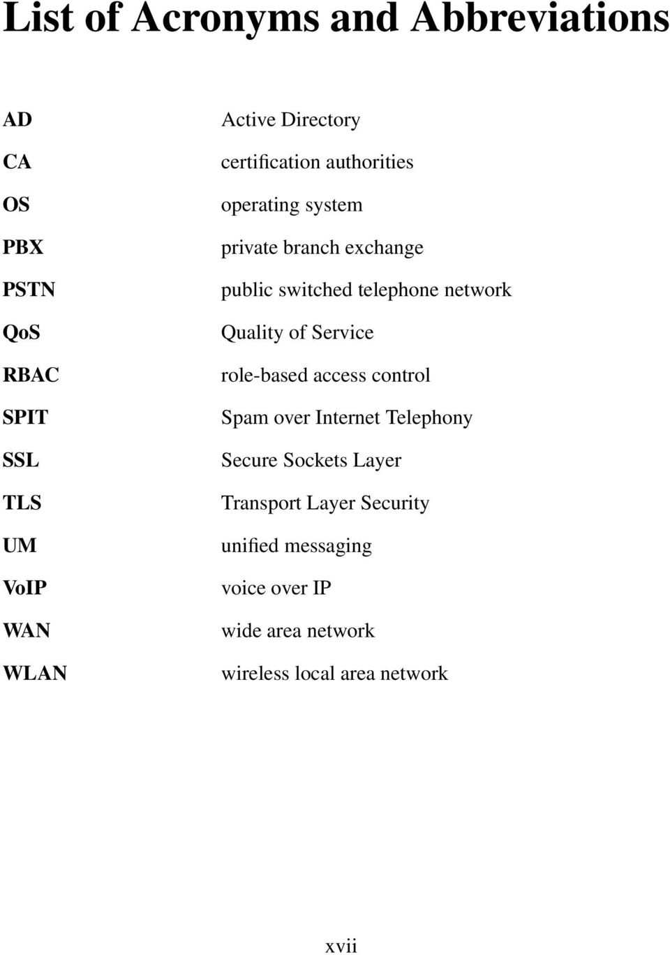network Quality of Service role-based access control Spam over Internet Telephony Secure Sockets Layer