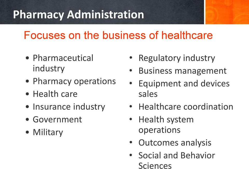 Regulatory industry Business management Equipment and devices sales Healthcare