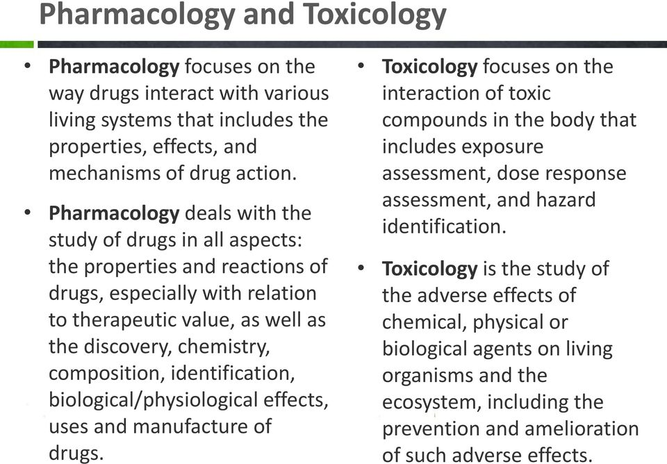 identification, biological/physiological effects, uses and manufacture of drugs.