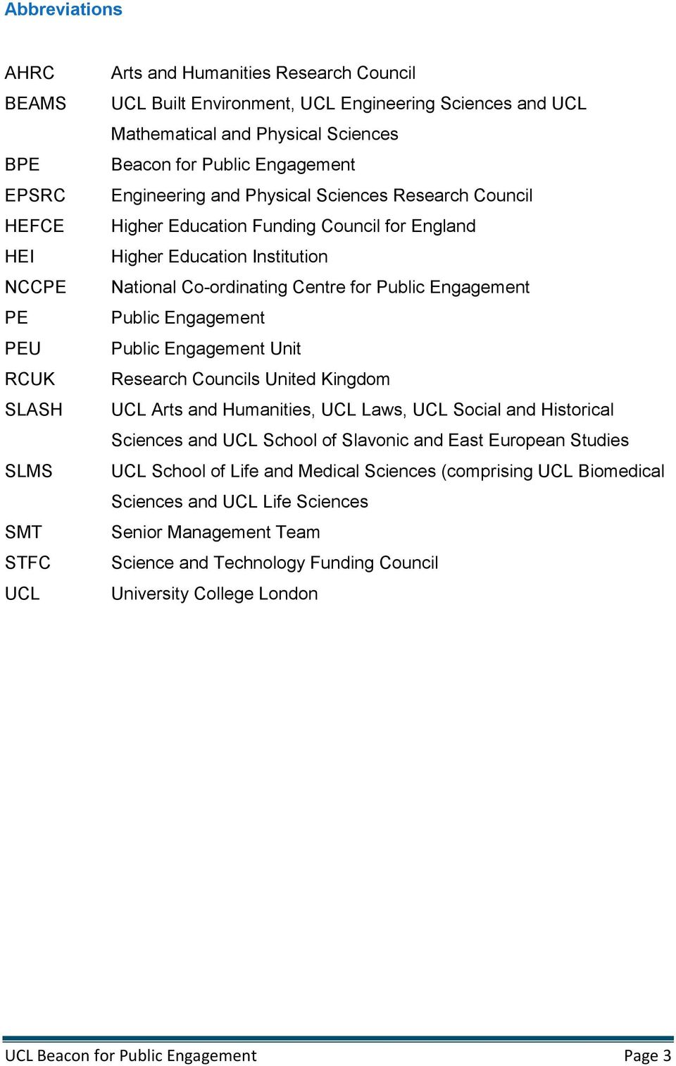 Centre for Public Engagement Public Engagement Public Engagement Unit Research Councils United Kingdom UCL Arts and Humanities, UCL Laws, UCL Social and Historical Sciences and UCL School of Slavonic