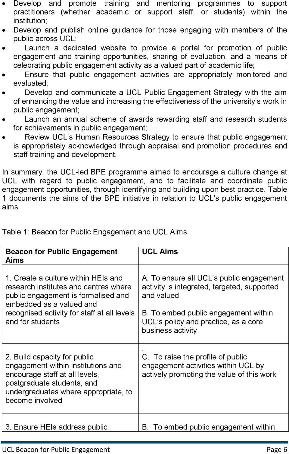 celebrating public engagement activity as a valued part of academic life; Ensure that public engagement activities are appropriately monitored and evaluated; Develop and communicate a UCL Public