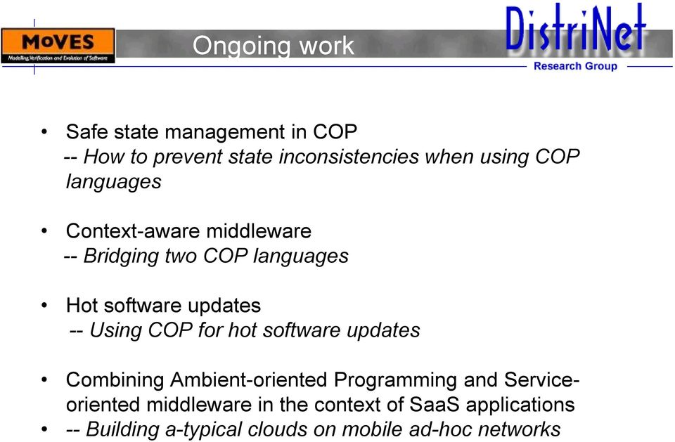 Using COP for hot software updates Combining Ambient-oriented Programming and Serviceoriented