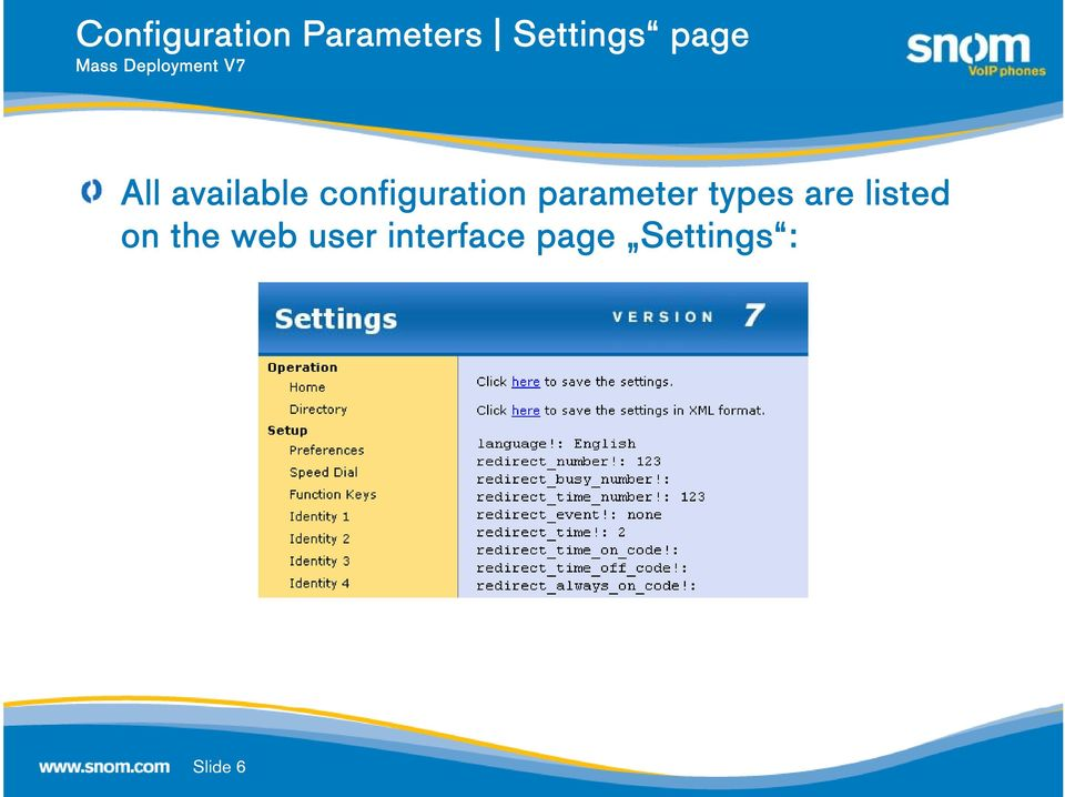 parameter types are listed on the