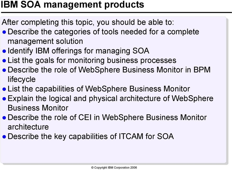 WebSphere Business Monitor in BPM lifecycle List the capabilities of WebSphere Business Monitor Explain the logical and physical