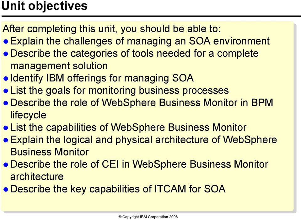 the role of WebSphere Business Monitor in BPM lifecycle List the capabilities of WebSphere Business Monitor Explain the logical and physical