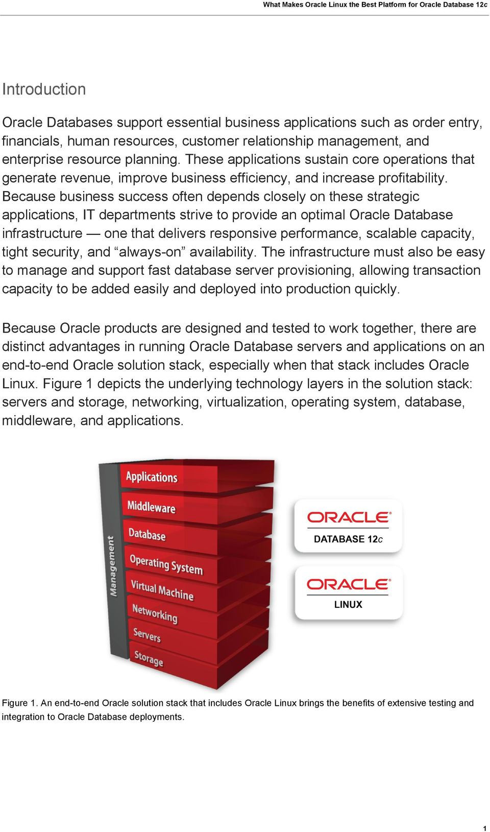 Because business success often depends closely on these strategic applications, IT departments strive to provide an optimal Oracle Database infrastructure one that delivers responsive performance,