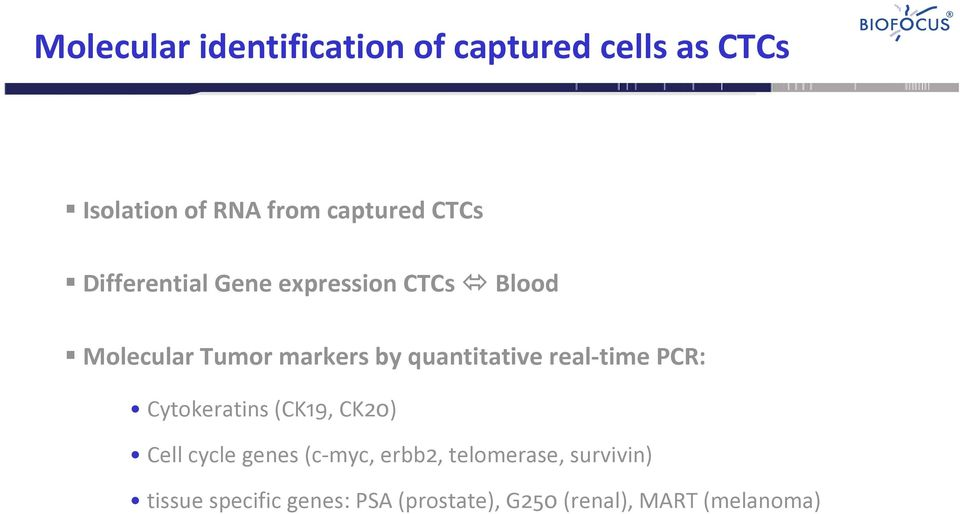 quantitative real time PCR: Cytokeratins (CK19, CK20) Cell cycle genes (c myc,