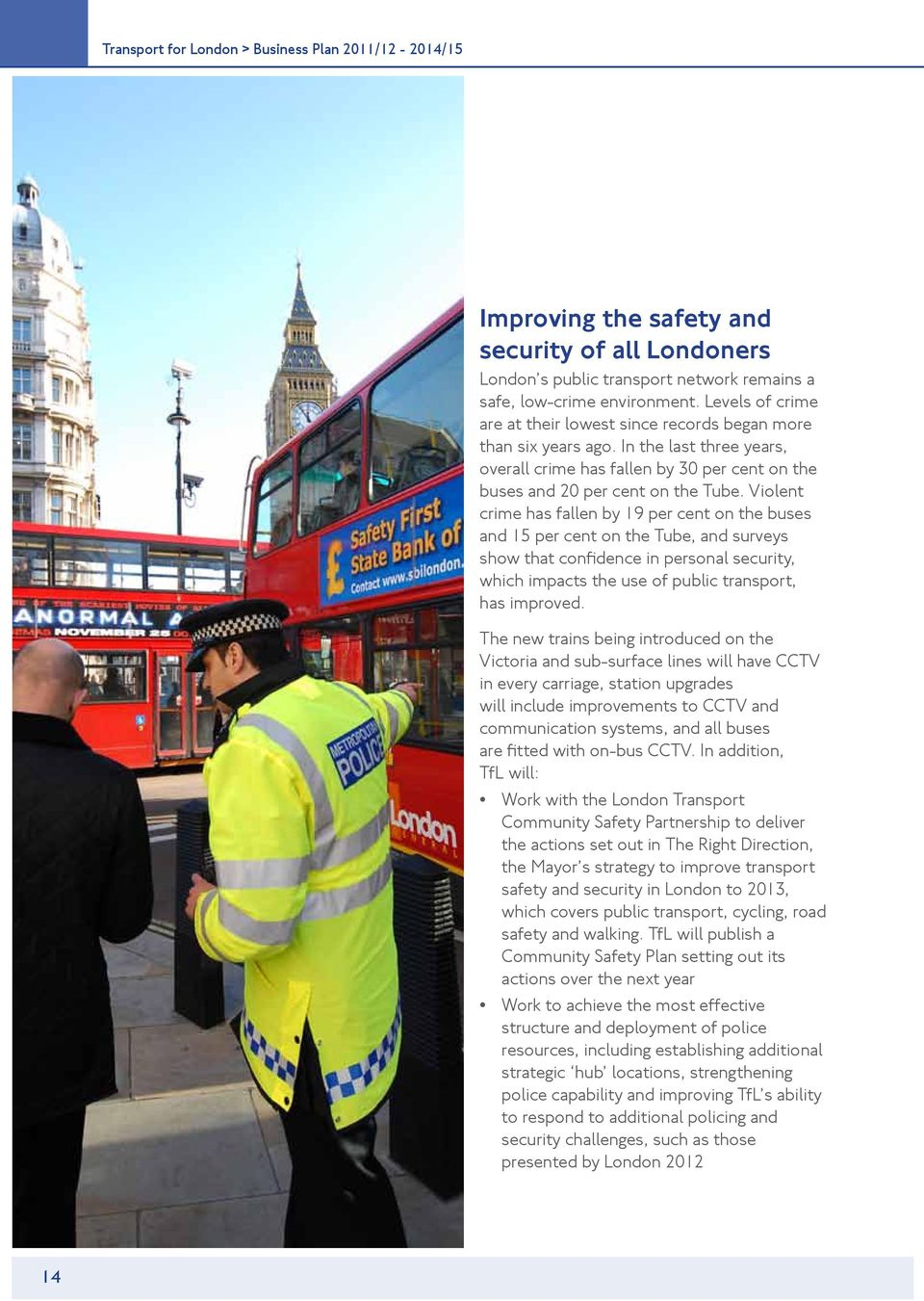 Violent crime has fallen by 19 per cent on the buses and 15 per cent on the Tube, and surveys show that confidence in personal security, which impacts the use of public transport, has improved.