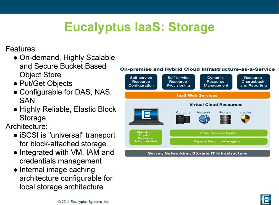 "Architecture: iscsi is ""universal"" transport for block-attached storage Integrated with VM, IAM"