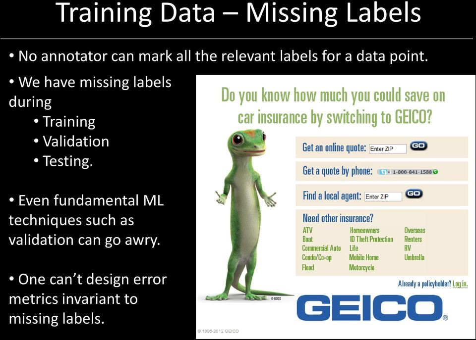 We have missing labels during Training Validation Testing.