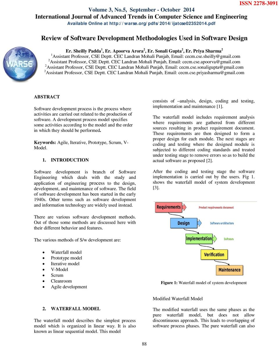 Review Of Software Development Methodologies Used In Software Design Pdf Free Download