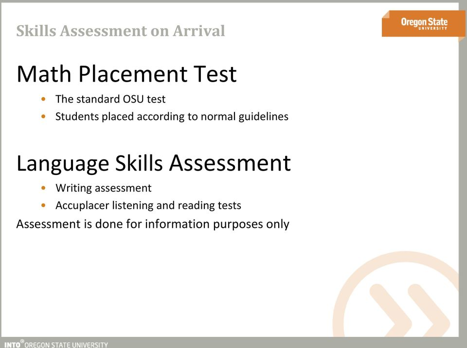 Language Skills Assessment Writing assessment Accuplacer