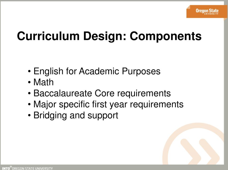 Baccalaureate Core requirements Major