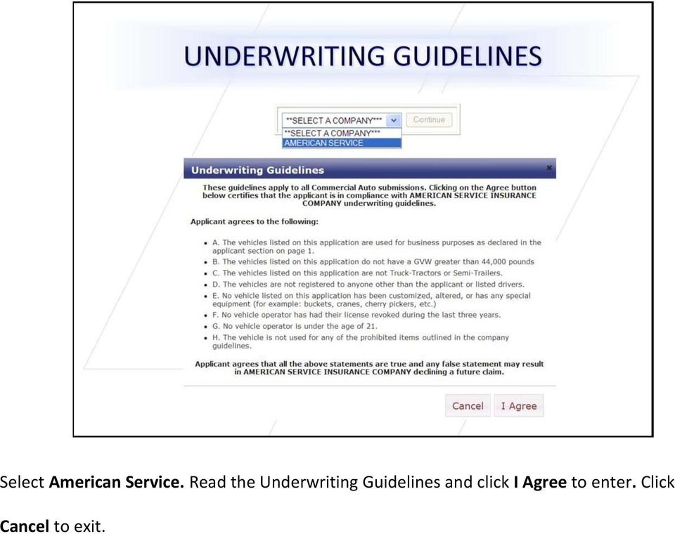 Guidelines and click I