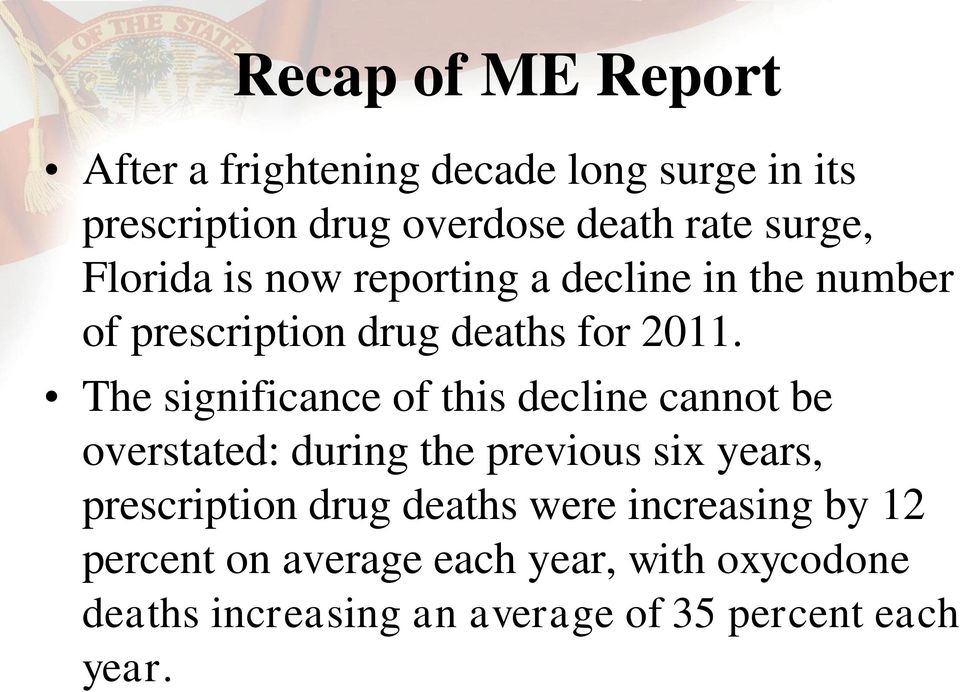The significance of this decline cannot be overstated: during the previous six years, prescription drug