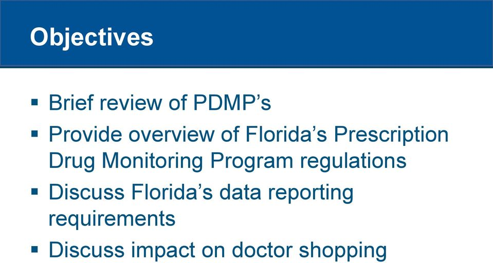 Monitoring Program regulations Discuss Florida