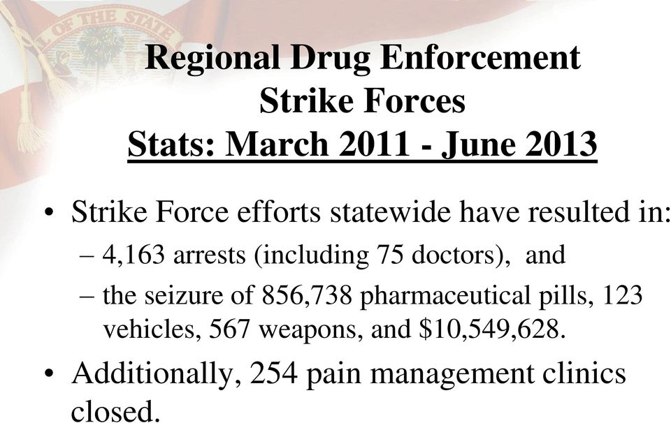 75 doctors), and the seizure of 856,738 pharmaceutical pills, 123