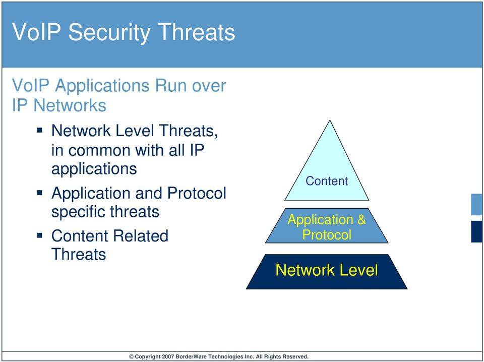 applications Application and Protocol specific threats