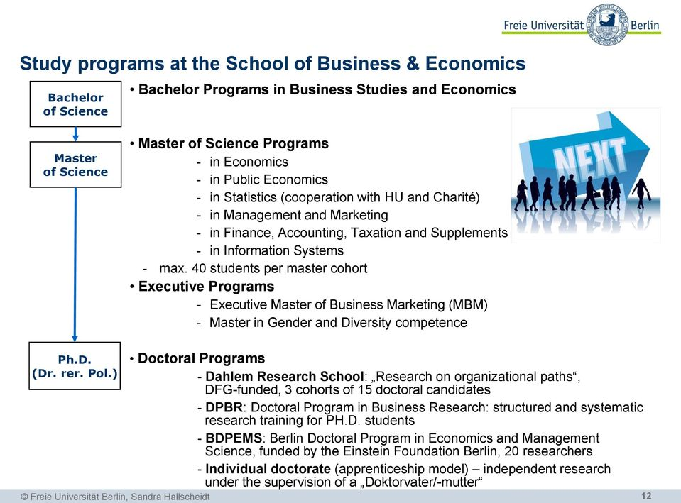 40 students per master cohort Executive Programs - Executive Master of Business Marketing (MBM) - Master in Gender and Diversity competence Ph.D. (Dr. rer. Pol.