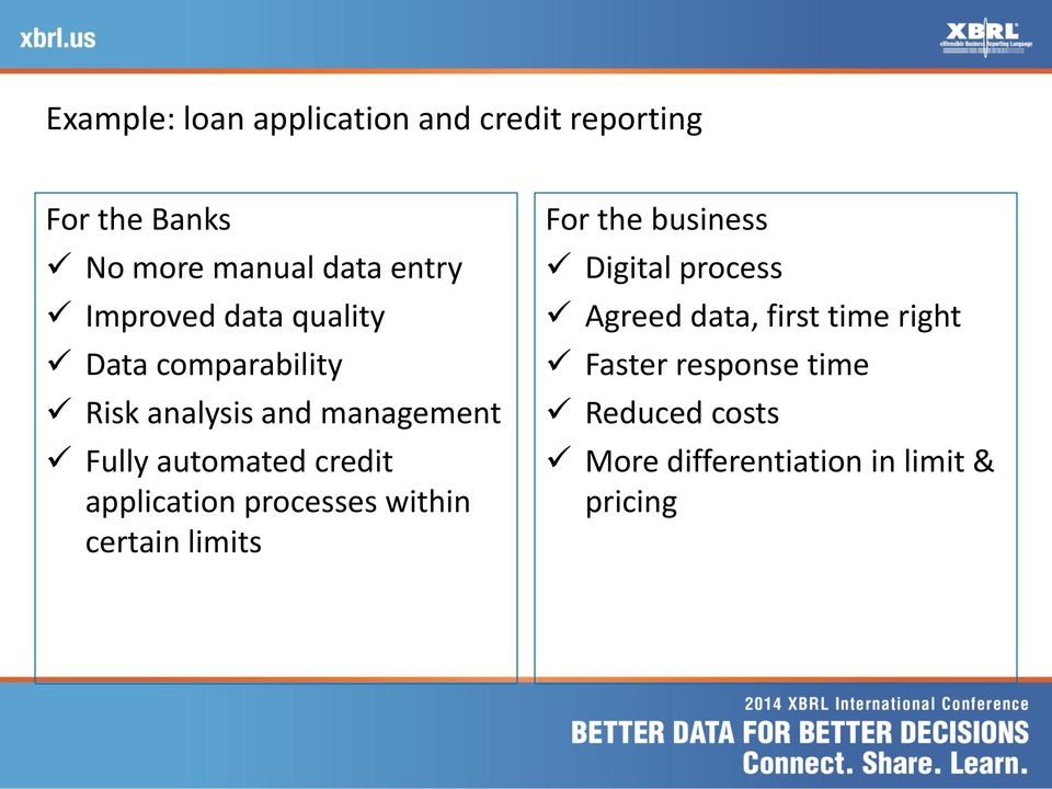 credit application processes within certain limits For the business Digital process Agreed