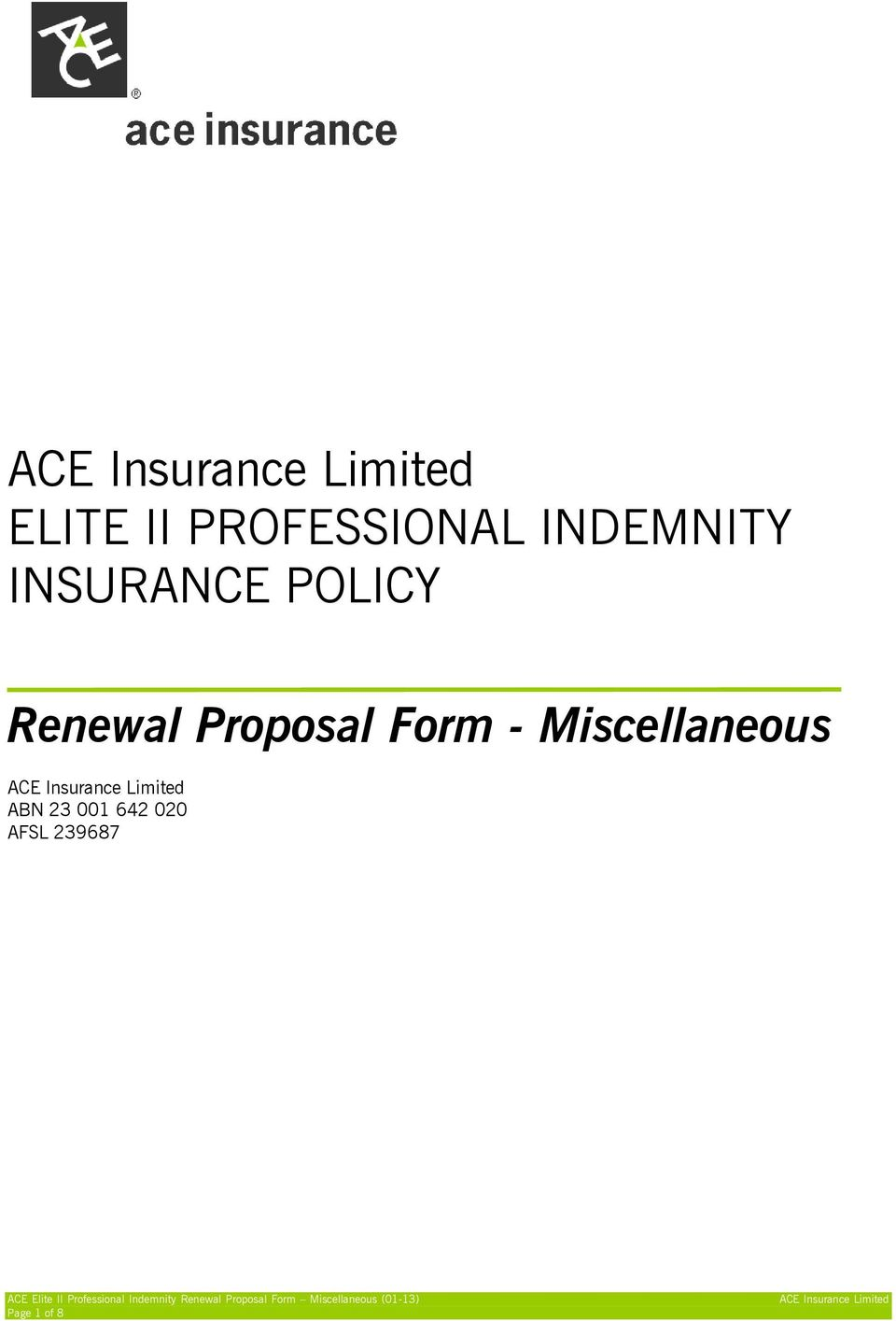 Proposal Form - Miscellaneous