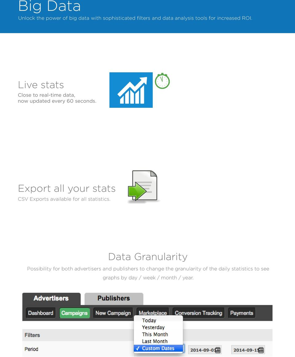 Export all your stats CSV Exports available for all statistics.