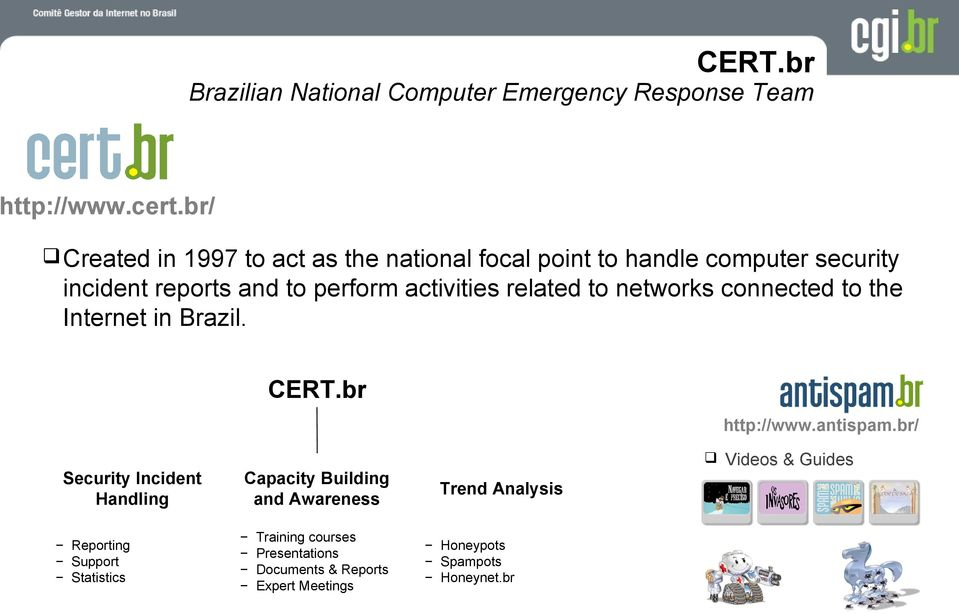 activities related to networks connected to the Internet in. CERT.br http://www.antispam.