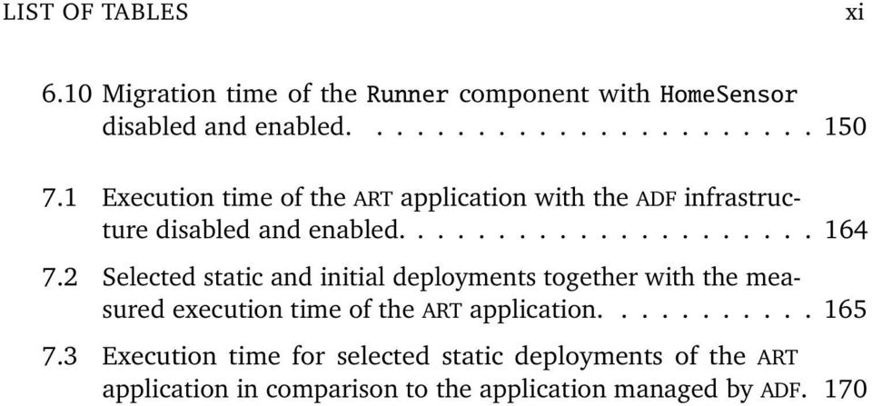 2 Selected static and initial deployments together with the measured execution time of the ART application........... 165 7.