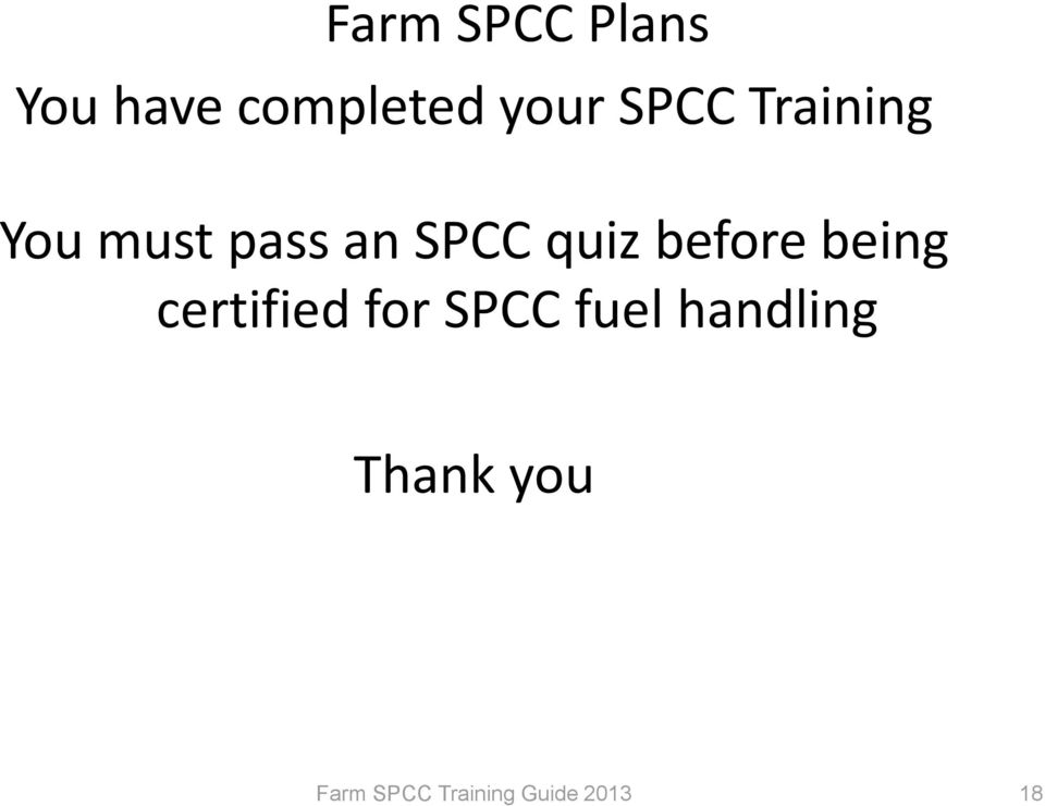 an SPCC quiz before being