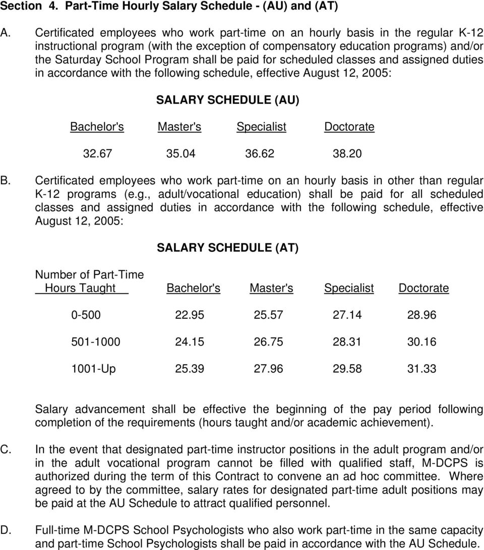 be paid for scheduled classes and assigned duties in accordance with the following schedule, effective August 12, 2005: SALARY SCHEDULE (AU) Bachelor's Master's Specialist Doctorate 32.67 35.04 36.