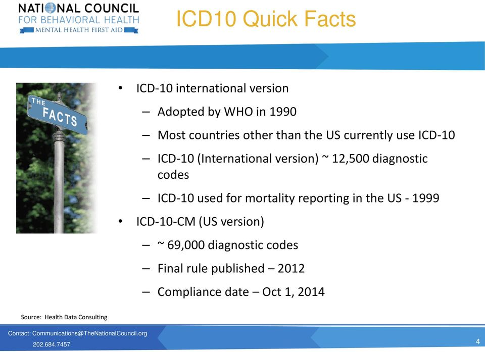 Data Consulting ICD-10 used for mortality reporting in the US - 1999 ICD-10-CM (US version) ~