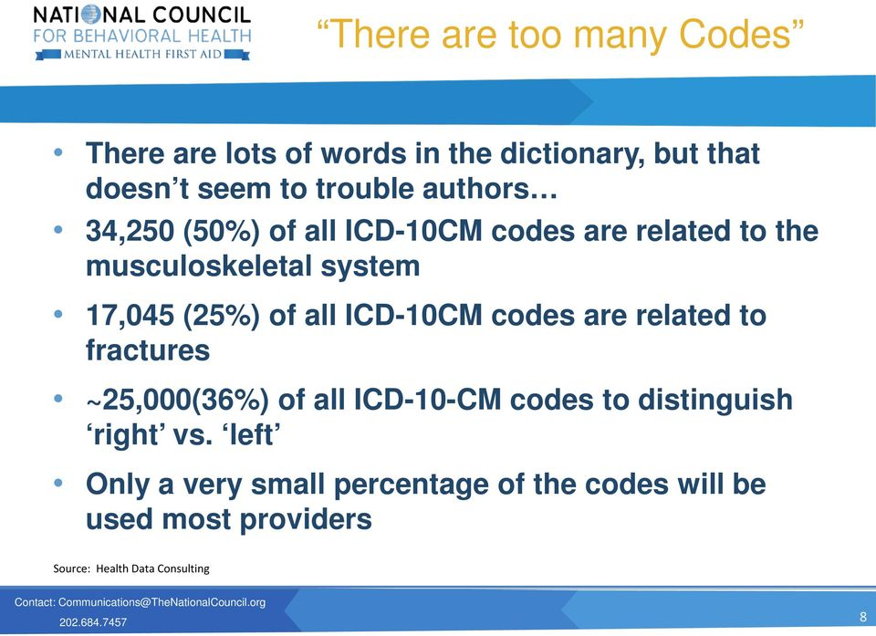 all ICD-10CM codes are related to fractures ~25,000(36%) of all ICD-10-CM codes to distinguish right vs.