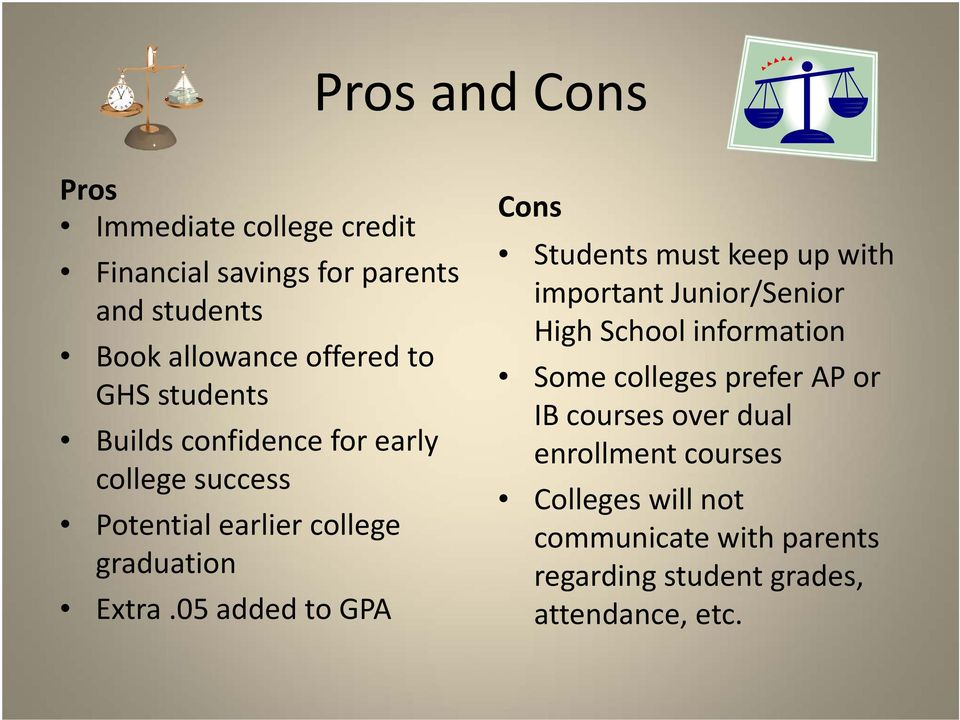 05 added to GPA Cons Students must keep up with important Junior/Senior High School information Some colleges