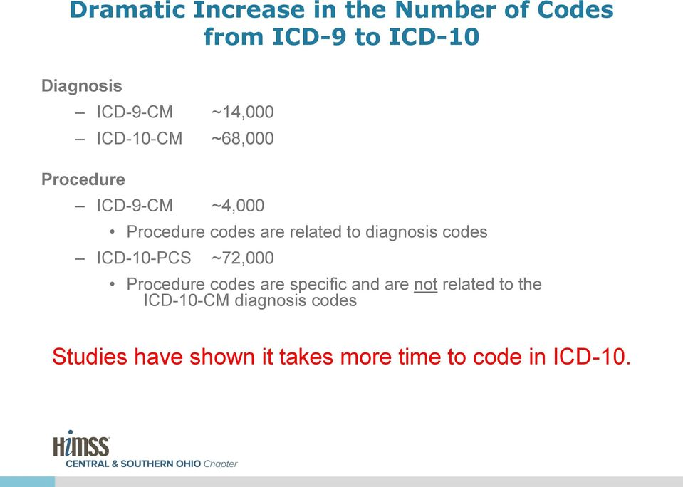 diagnosis codes ICD-10-PCS ~72,000 Procedure codes are specific and are not related