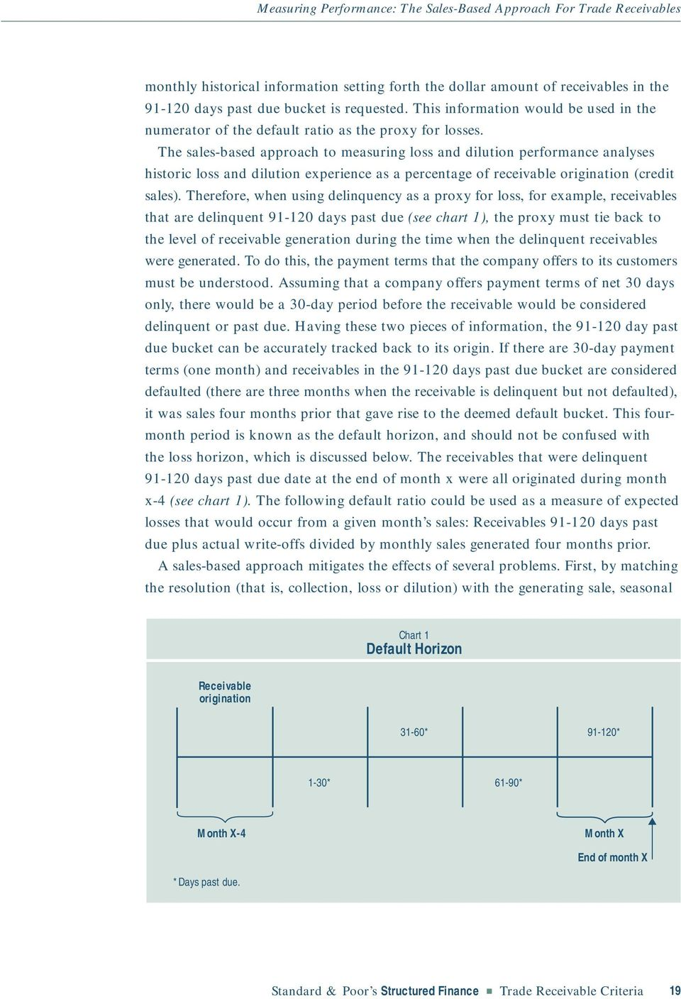 The sales-based approach to measuring loss and dilution performance analyses historic loss and dilution experience as a percentage of receivable origination (credit sales).
