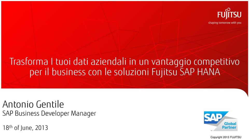 Fujitsu SAP HANA Antonio Gentile SAP Business