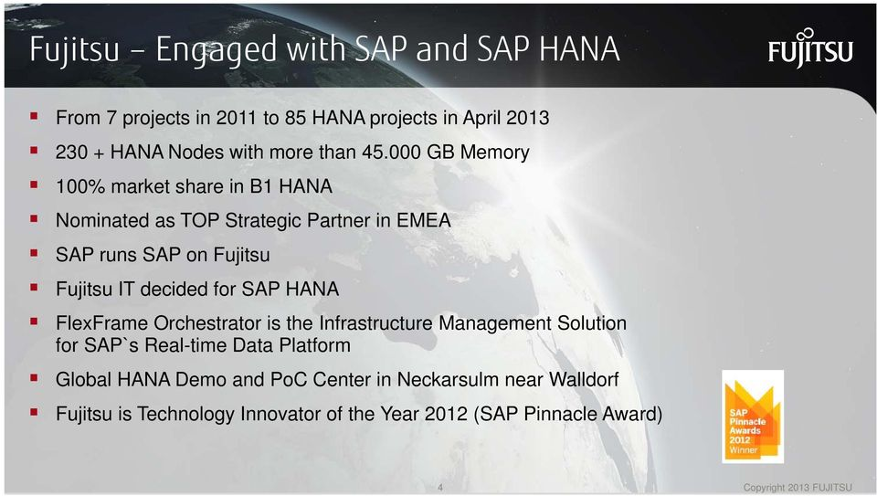 for SAP HANA FlexFrame Orchestrator is the Infrastructure Management Solution for SAP`s Real-time Data Platform Global HANA Demo