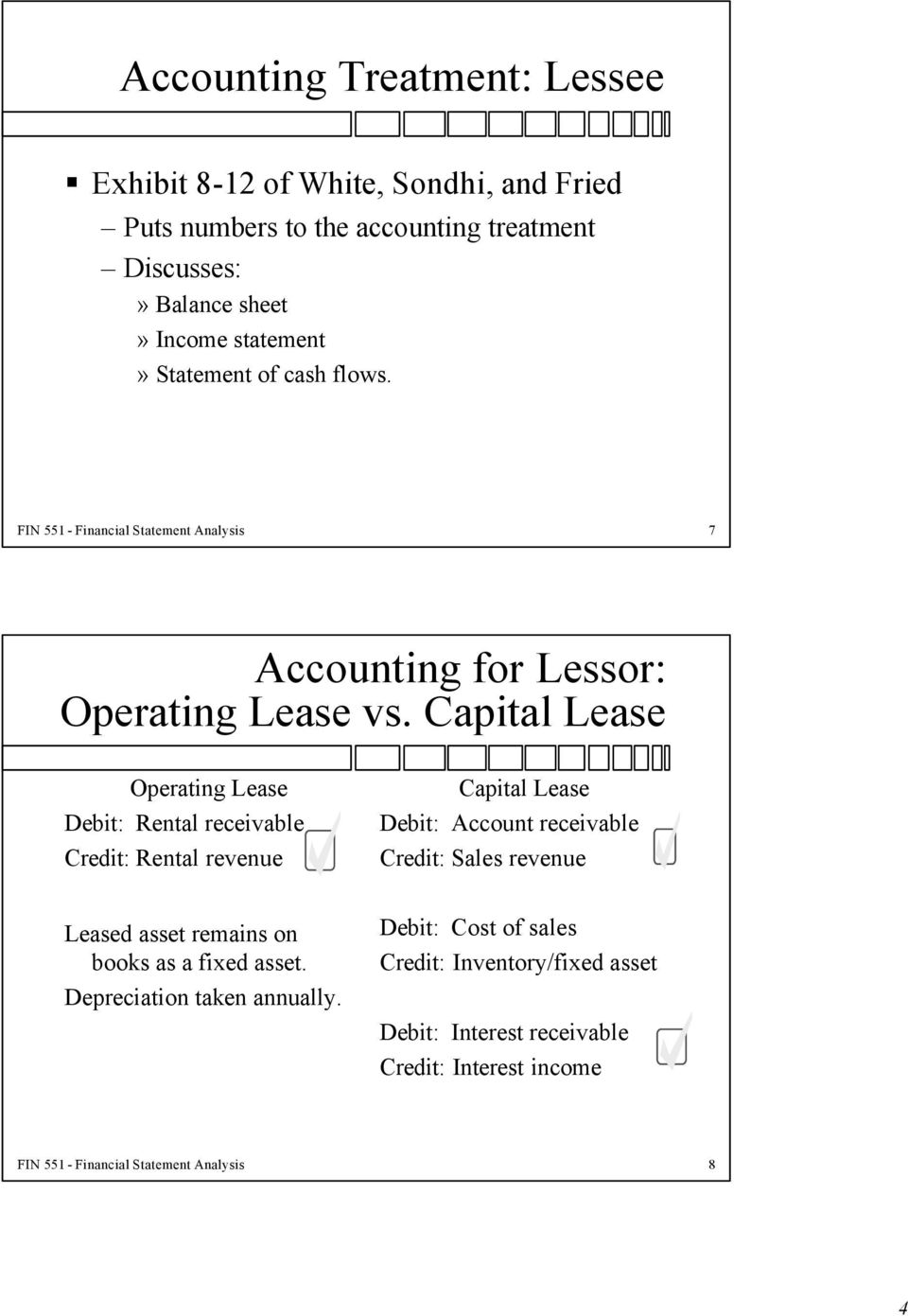 Capital Lease Operating Lease Debit: Rental receivable Credit: Rental revenue Capital Lease Debit: Account receivable Credit: Sales revenue Leased asset
