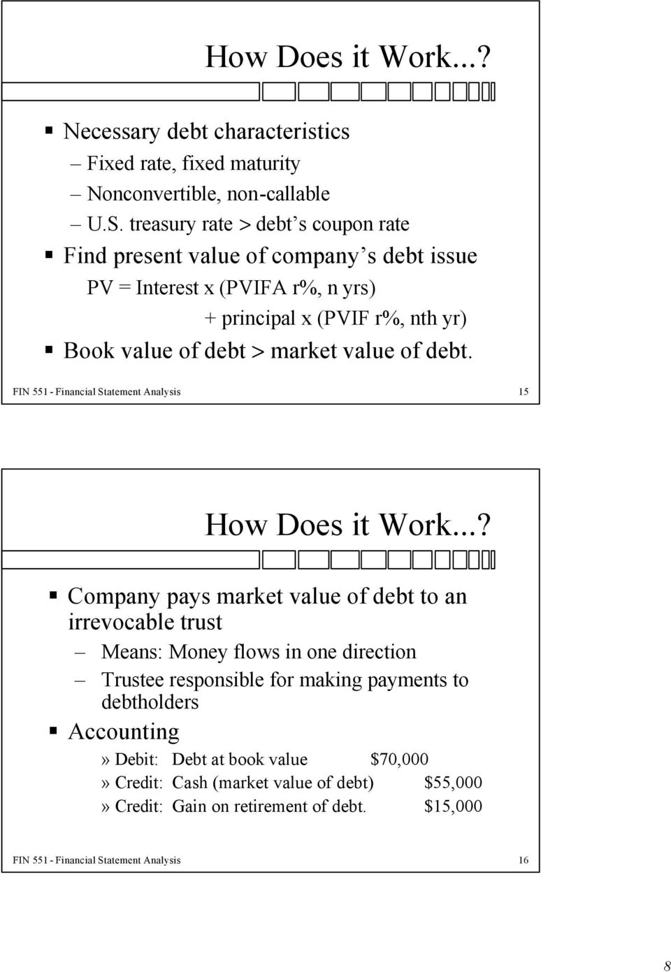 value of debt. FIN 551 - Financial Statement Analysis 15 How Does it Work.