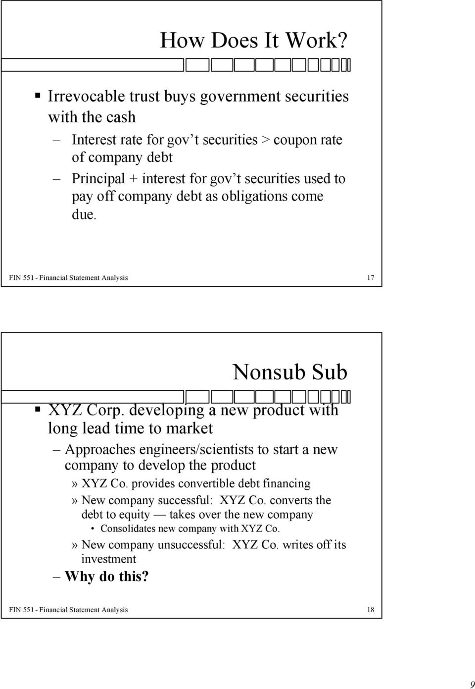 off company debt as obligations come due. FIN 551 - Financial Statement Analysis 17 Nonsub Sub XYZ Corp.