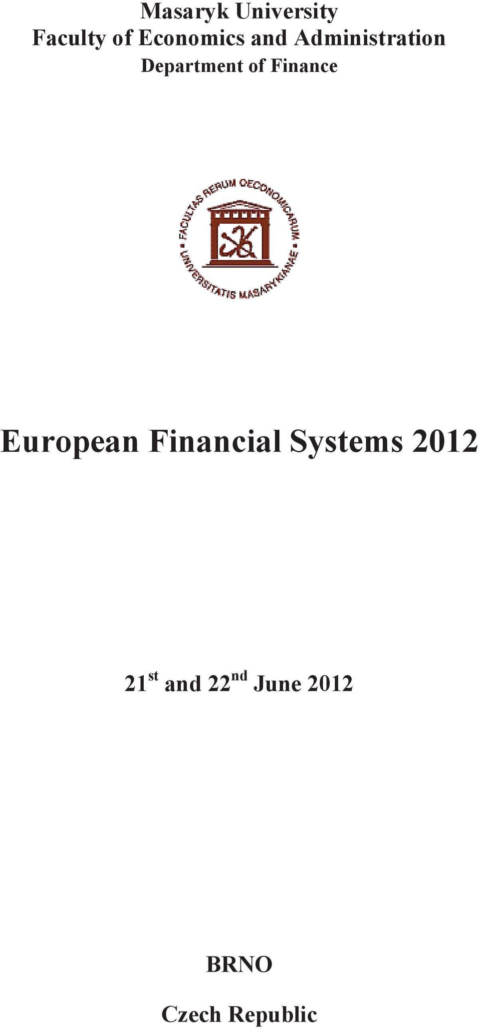 Finance European Financial Systems 2012